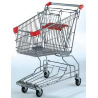 China Custom Rolling Shopping Basket Wire Cart On Wheels Metal Frame Asia Style on sale