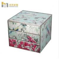 China Three Layers Mirrored Glass Jewellery Box / Glass Earring Box Environment Friendly wholesale