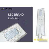 China Cool White Microwave Sensor All In One Solar Street Light 50 Watt 5200lm For Curb wholesale