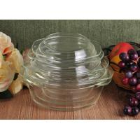 China Pyrex Glass Tableware Clear Glass Oven Bowls with Lid , 4 Sizes Heat Resistant Eco-friendly wholesale