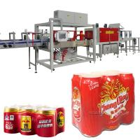 China Automatic Double lanes Wrapping Machine PE Film Shrink Wrapping Enhanced for drinking water, soft drinks, beverage wholesale