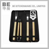 China 4 PCS Rubber Wood Handle BBQ Tool Set in Nylon Bag (BE-20073) on sale