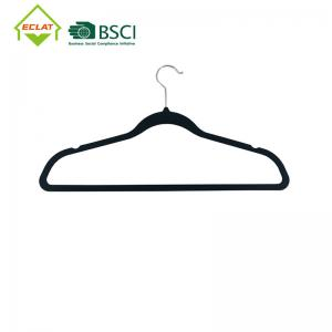 China 20PK Black Plastic Space Saving Hangers Rubber Coated  For Pant Skirt wholesale