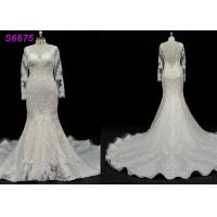 China long sleeves customize made lace application bridal gown wedding dresses wholesale