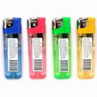 China 8.2cm Tall electronic refillable gas lighters with transparent color body and warning sticker wholesale