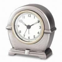 China Polyresin Table Alarm Clock with Silver Spray and Antique Finishing on sale
