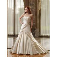 China A-line Strapless Sleeveless Court Train Satin Wedding Bride Dress with Ruffles and Beading on sale