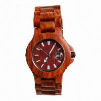 China Newest Design Wooden Watch with Wood Strap, Sandal Wood Case, Calendar Function wholesale