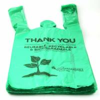 China 40 % Biobased Biodegradable Plastic Shopping Bags Green Color 16 / 18 Mic wholesale