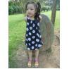 China Sequences Little Girls Polka Dot Dress , Bow Shoulder Childrens Chiffon Dresses wholesale