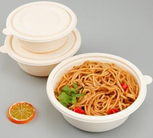 China 600ml 800ml Microwavable Round Cornstarch Lunch Box For Take Aways Container wholesale