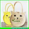 China LDMC-027 fashion cute cat  straw purse natural  wheat straw shoulder handbag bag wholesale
