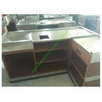China Coffee Bar And Supermarket Checkout Counter Table / Metal Cash Wrap Counter wholesale