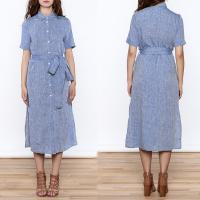 China Women Casual Button Down Solid Midi Linen Dresses ladies on sale