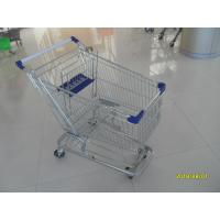 China 100L Low Tray Supermarket Shopping Trolley Zinc Plated  With Blue Baby Seat wholesale