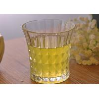 China 200ml 7oz Clear Embossed water tumbler glass for Soft Drink , Dimond Design wholesale