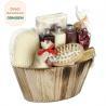 China Portable Body Care Bath Gift Set Bamboo Wooden Basket Engraved Logo wholesale
