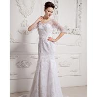 China Girls Long Sleeve Big V Neck Wedding Dresses Appliques with cathedral train wholesale