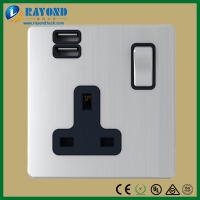China Brushed Satin Chrome Wall Plate Single Gang 13A BS1363 Type Switched Socket with Dual USB Charging Adapter wholesale