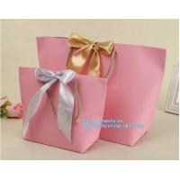 China pink small christmas gift packaging paper bags with cotton ribbon twisted handle,Paper material Brown Shopping Bag With on sale