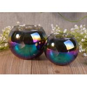 China Ball Shaped Decor Glass Tealight Holders , Iridescence Lantern Glass Candle Jar wholesale