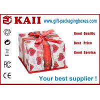 Quality Eco Friendly Gift Packaging Boxes / Square Gift Box With Red Bow Ribbon for sale