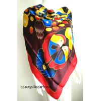 China Chinese culture silk scarves, 100% silk twill scarf from factory direct, by hand drawing wholesale