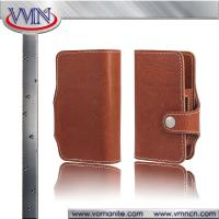 China Retro Brown book type Natural Genuine leather case for Japan IQOS with card slot wholesale