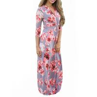 Quality Casual 3 4 Sleeves Summer Floral Maxi Dresses , Petite Length Maxi Dresses For for sale