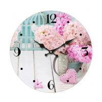 China Promotional Custom printed glass wall clock Antique Round Shape Metal Wall Clock for home decoration wholesale