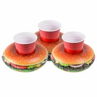 China PVC Cheeseburger Party Tube Inflatable Drink Holder Giant Size Hamburger Pool Float wholesale
