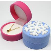 China New arrival round shape velvet flocked jewelry earring gift box in snowflake style wholesale