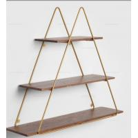 China Triangle Shaped Metal Frame Wall Shelving Unit Retro Wooden Shelf Metal Wall Hanging Shelf for home decoration wholesale