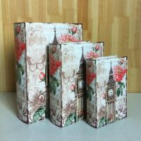 China S/3 Canvas Wooden faux leather book box for gift wood box gift wholesale