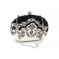 China Handmade Beads Embroidered Evening Bag Black And White With Pearl Diamond on sale