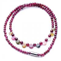 China Pure natural garnet round bead + natural tourmaline necklace The rain princess necklace on sale