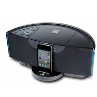 China Wireless docking station speaker for iphone ipad ipod with AV out FM radio alarm clock wholesale