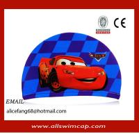 China New cartoon kid lycra swimming hat for toddle wholesale