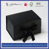 China Ribbon Type Rigid Black Cardboard Box With Glossy Varnishing Treatment wholesale
