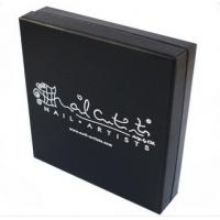 China Logo Silver Foil Stamping Cosmetic Paper Box , Black Color Cosmetic Box Packaging wholesale