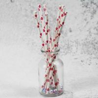 China 8mm small caliber pearl cocktail pink heart color Biodegradable Paper Drinking Straws wholesale