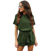 Buy cheap Ladies Solid Color Cut-out Back Peplum Waist Romper from wholesalers