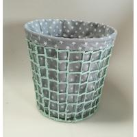 China paper rope woven bin,  trash basket with fabric liner, beautiful design wholesale