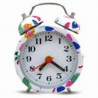 China Mini Alarm Clock with Flower Design Printing, Measures 7 x 4.5 x 9.5cm, OEM Orders are Welcome wholesale