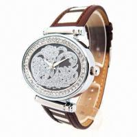 China Ladies' Jewelry Watch in Crystal Stones Decorated in Case Dial/Bezel, PU Leather Strap wholesale