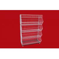 China Collapsible Metal Wire Storage Baskets , Mobile Tiered Wire Basket Display Shelf wholesale