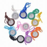China Pocket Watch with Alloy Inner Case and Silicone Cover, Hanging Silicone Strap, Best Promotional Item wholesale