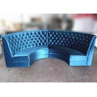 China Blue Velvet Restaurant Booth Furniture , Fully Upholstered Half Moon Sofa Booth wholesale