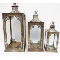 Buy cheap Lantern Candle Holders Gold Metal and Glass Tea-Light Candle Holder Lanterns from wholesalers
