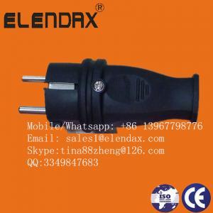 Black European  Rubber Power  Plug Socket Russian  Market ndustrial Plug Adaptor 16A German Schuko AC Power Electrical P